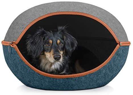 Amazon Com Furhaven Pet Cat Bed Furniture Two Color Round Felt Pet House Private Den Hideout Pet Bed For Cats And S Modern Cat Cat Bed Furniture Small Pets
