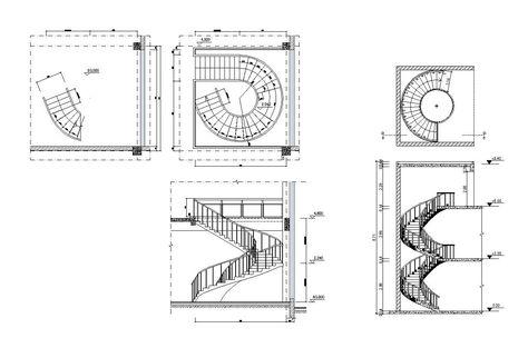 Free Spiral Stair Details Diseno De Escalera Escaleras Autocad