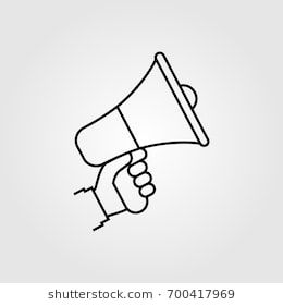 hand holding megaphone isolated icon on white background modern minimal design with a line speaker loudspeaker silhouet icon megaphone medical illustration hand holding megaphone isolated icon