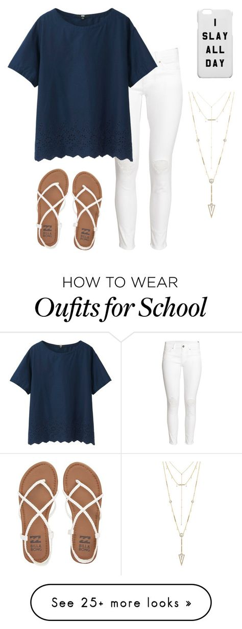"""""""church/school"""" by heisiad on Polyvore featuring H&M, Uniqlo, Billabong and House of Harlow 1960"""
