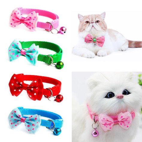 US Pet Dog Puppy Cat Kitten Bow Tie With Bell Adjustable Necktie Collar Fashion