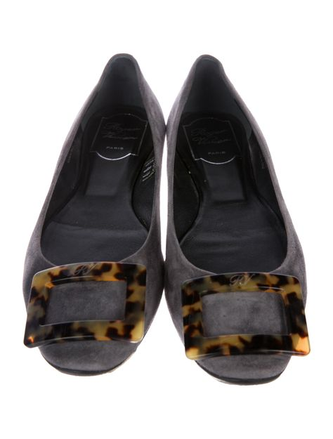 7c571f7ba04fe6 Charcoal suede Roger Vivier round-toe flats with tortoiseshell buckle accent  at tops and rubber soles.