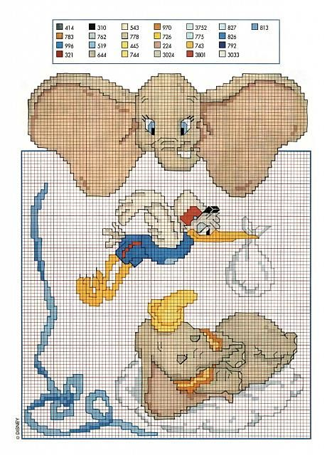 Dumbo L Elefante Walt Disney Punto Croce Punto Croce A
