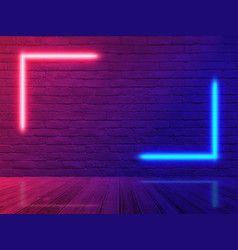 Brick Wall Room Background Neon Light Vector In 2020 Neon Neon