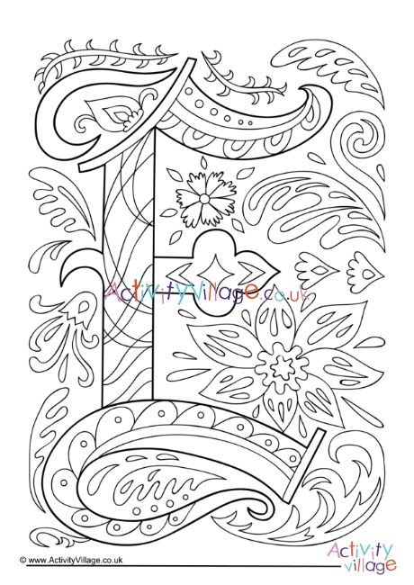Illuminated Letter E Colouring Page In 2021 Owl Coloring Pages Coloring Pages Letter A Coloring Pages