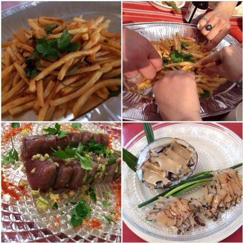 友達&家族でパーティ料理に参加中 - 逗子で海鮮BBQ                       アンチョビ ガーリック バターのフライドポテト
