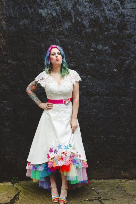Rainbow underskirt wedding dress · Rock n Roll Bride