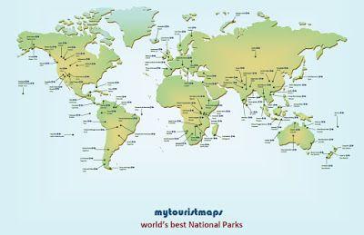 World\'s Best National Parks   National parks map, World ...