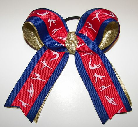 Gymnastics Ribbon Red Blue Gold Ponytail Holder Hair Bow