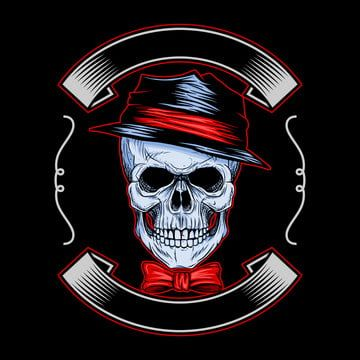 Skull Wearing Hat And Bow Ties With Ribbon On Black Background Art Background Bandit Png And Vector With Transparent Background For Free Download Black Backgrounds Skull Art Drawing Halloween Vector