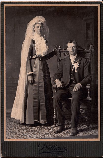 On the Wedding Day, Albumen Cabinet Card, Circa 1890  This cabinet
