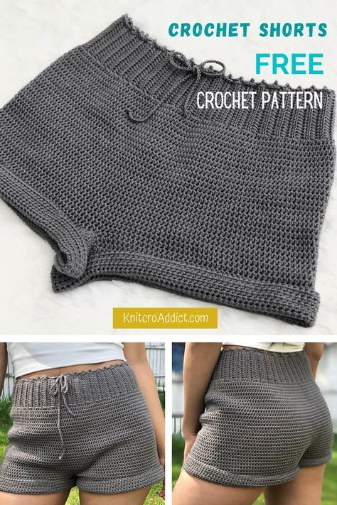 Crochet Shorts (Free Pattern XS-XXL) How to crochet your own pair with this beginner friendly written pattern and step by step video tutorial. Mode Crochet, Crochet Diy, Crochet Woman, Tutorial Crochet, Crochet Mask, Easy Crochet Projects, Crochet For Boys, Crochet Bikini, Sewing Projects