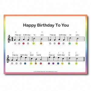 Rainbow Music Clarinet Sheet Music Happy Birthday Piano