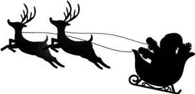 サンタとトナカイのシルエット サンタクロース トナカイ そり イラスト サンタクロース 切り絵