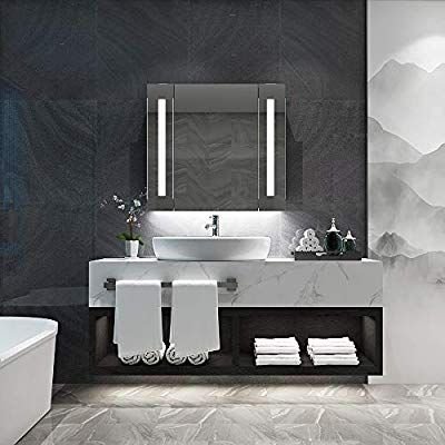 Quavikey 650 X 600mm Led Illuminated Bathroom Mirror Cabinet Aluminum Bathroom Mirror With Shaver Socke Mirror Cabinets Bathroom Mirror Cabinet Bathroom Mirror