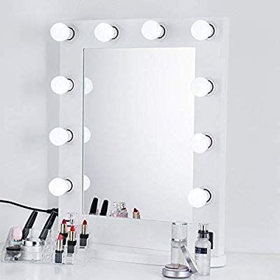 Beauty Life White Hollywood Makeup Vanity Tabletop Mirror With