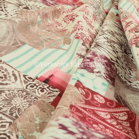 Modern Printed Velvet Geometric Pink Patchwork Upholstery Furnishing Fabric
