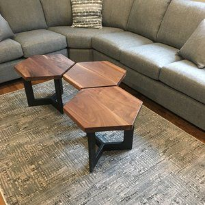 Walnut Bunching Tables Wood Furniture Living Room Table Decor Living Room Coffee Table