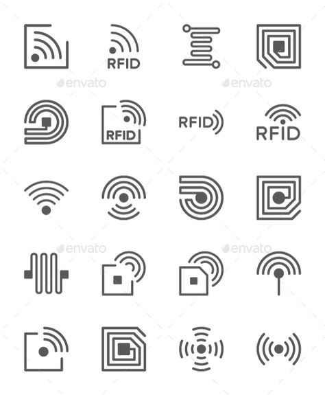 Set Of RFID Chip Line Icons. Pack Of 64x64 Pixel Icons. Fully customisable set of icons. #icon #design #art #digitalArt #antenna #business #chip #circuit #computer #device #electronic #frequency #identification #identify #innovation #integrated #invention #lab #line #micro #protect #radio #research #rfid #semiconductor #smart #system #tag #technology #wireless