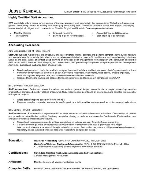 Accountant Resume Sample Work Wisdom Pinterest Sample resume - Warehousing Resume