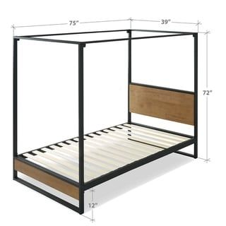 Priage By Zinus Metal And Wood Canopy Platform Bed Full Grey