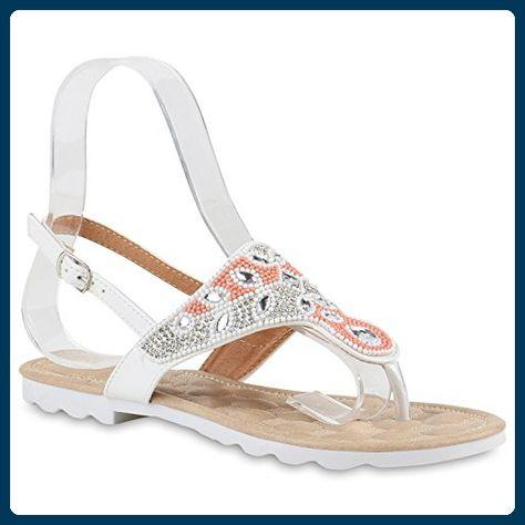 Damen Sandalen Zehentrenner Strass Zierperlen Zehensteg Schuhe 826621 Trendy Neu