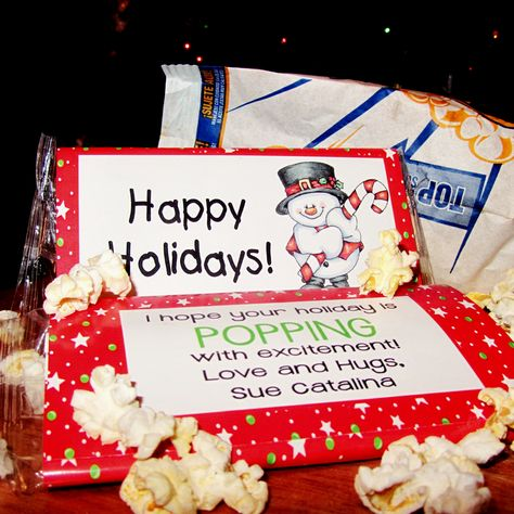 Christmas popcorn wrappers party favors. Cute gift or snack for school holiday parties.