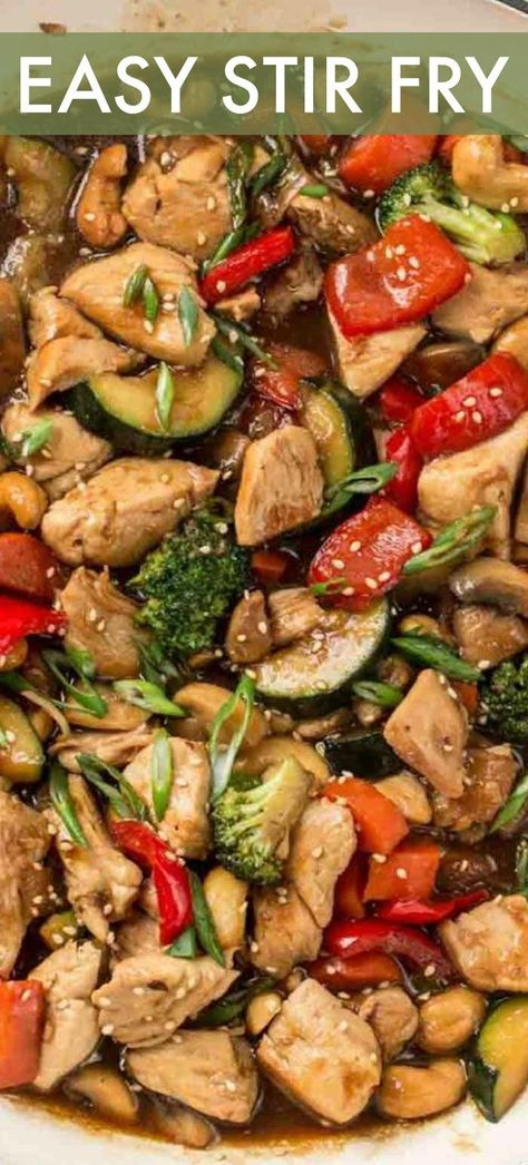 This simple chicken stir fry recipe is so much better than takeout! Chicken with vegetables combined in a really great honey soy sauce with the perfect addition of ginger and garlic. #valentinascorner #stirfry #easy #chicken #dinner #stirfrysauce #stirfryrecipeschickeneasy