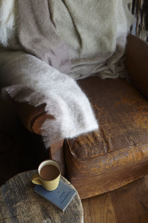 Warm blanket hot drink old coach rusty wood slow life