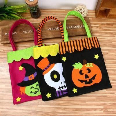 Bolsas de obsequios Sayala 4 Piezas Bolsas Grandes de golosinas de Halloween Truco o Trato de Halloween Bolsas de obsequios de aulas Escolares Suministros para Fiestas