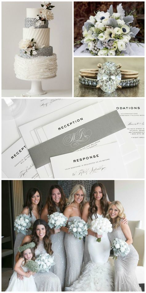 Silver Wedding Inspiration is part of Silver wedding invitations Silver works beautifully as an accent color, but this shimmery neutral can also hold its own as the star of any wedding color palette -