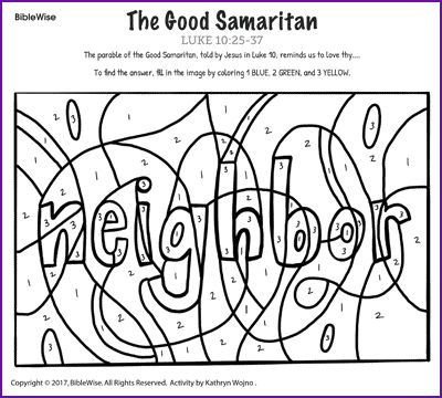 The Good Samaritan Color By Number Kids Korner Biblewise Sunday School Kids Sunday School Activities Good Samaritan Craft