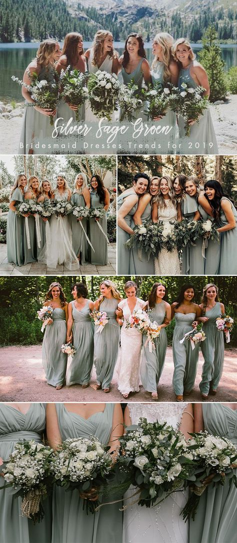silver sage green bridesmaid dresses color trend for 2019 weddings