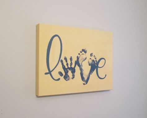 """Love Handprint and Footprint Canvas Art, Solid Color, Any Color, 12x16"""" by SnowFlowerArts"""