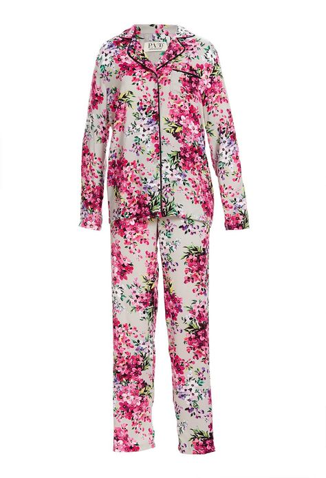 43a20cf729 Satin Floral Classic Pj Set Select Colour  Multi Details Oh so pretty! This  women s silver floral pyjama set is crafted in a satin fabric.