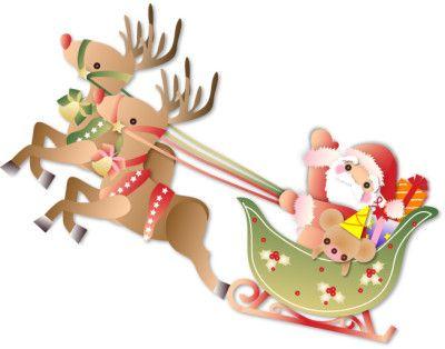 クリスマスプレゼントを赤鼻のトナカイのソリで運ぶサンタさんのイラスト サンタクロース トナカイ クリスマス ソリ クリスマス オーナメント