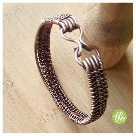 Simple wire copper cuff woven copper bangle wire wrapped | Etsy