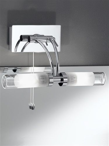 over mirror lighting. Over Mirror LIght Adjustable IP44 Chrome Finish Light With Partly Frosted Glass Tubes. Supplied Mains Voltage G9 Haloge\u2026 Lighting R