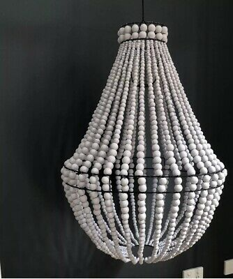 Wood Beaded Chandelier Pendant Light