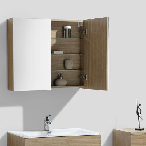 Armoire De Toilette Bloc Miroir Siena Largeur 80 Cm Chene Clair En 2020 Avec Images Armoire De Toilette Meuble Rangement Salle De Bain Meuble De Salle De Bain