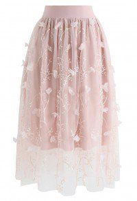 Sprightly Garden Embroidered Mesh Tulle Skirt in Pink