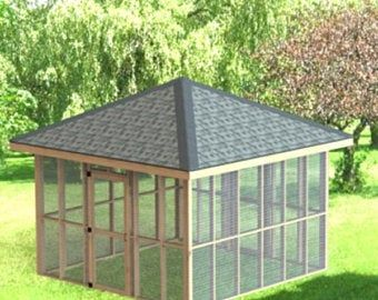 Screened In Gazebo Building Plans I Hip Roof 10 X 16 Etsy In 2020 Screened Gazebo Garden Gazebo Shed Building Plans