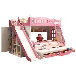 2019 Pink Cartoon Functional Solid Wood Kids Bedroom Furniture New