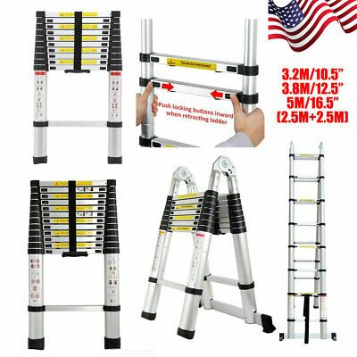 Ad Ebay Collapsible Telescopic Ladder Loft Roof Step Ladders Extension Foldable Aluminum Telescopic Ladder Step Ladders Ladder