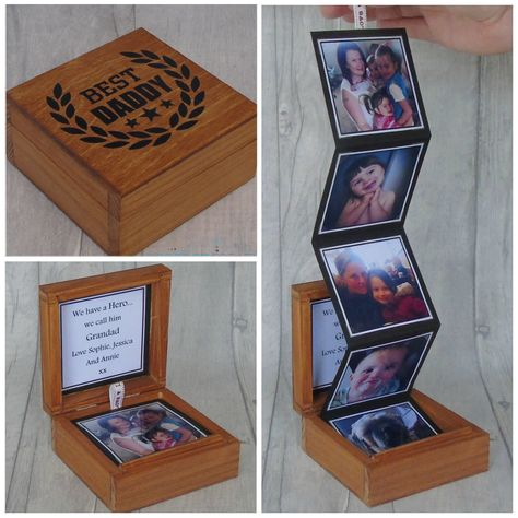 PLEASE DONT FORGET TO SEND THE PHOTOS NEEDED TO COMPLETE THIS BOX ALONG WITH THE MESSAGE YOU WOULD LIKE ON THE INNER LID!! Beautiful wooden photo box with everlasting memories inside. These boxes can hold 5, 7 or 9 photos in colour or black & white. With a personalised message on the