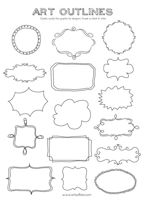 Items similar to Set of Journal Tags & Label Frames- Art Outlines Full Page 16 Original Hand Drawn Outline Illustrations and Custom Shapes on Etsy