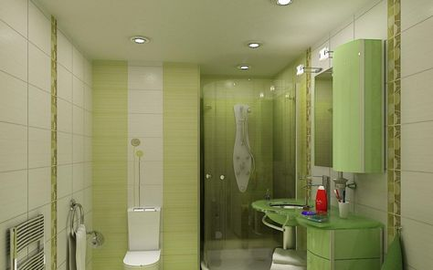 Kleines Badezimmer Moebel Gruen Weiss Fliesen Design