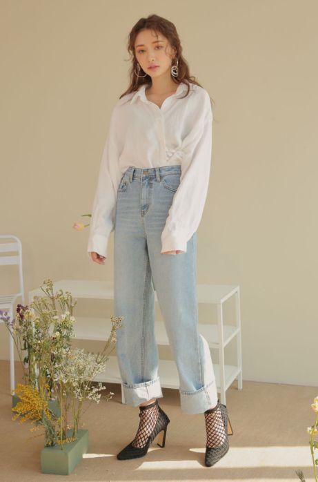 [Stylenanda] Faded Wide-Leg Jeans