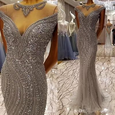 Sparkly Crystal Mermaid Long Formal Evening Party Dress Pageant Prom Ball Gown
