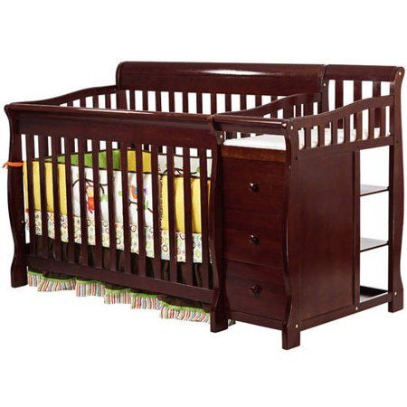 Dream On Me 5 In 1 Brody Convertible Fixed Side Crib With Changer Cherry Red Baby Cribs Cribs Baby Furniture